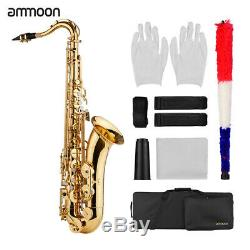 Ammoon Gold Lacquer Brass Bb Tenor Saxophone Sax Kit withCase Gloves Mouthpiece