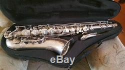 B&S Blue Label Tenor Saxophone, Silver Plated, shaped Selmer case + accessories