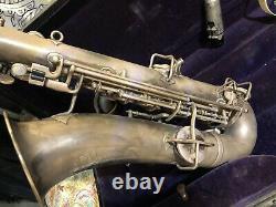 Buescher True Tone Silver Tenor Saxophone Low Pitch w Case