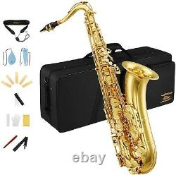 Eastar Tenor Saxophone Bb Gold Lacquer Full Kit Case, Mouthpiece, Clean Cloth