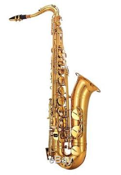 Glory Gold Laquer B Flat Tenor Saxophone With Case, 10pc Reeds + SAXOPHONE STAND