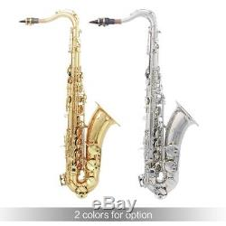 LADE Brass Bb Tenor Saxophone Sax Pearl White Shell Buttons with Case Silver B3R9