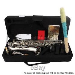 LADE Brass Bb Tenor Saxophone Sax with Accessories Kit Case Silver B5L2