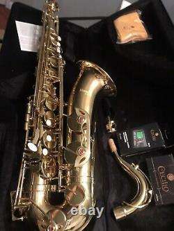 Mendini Bb Tenor Saxophone Sax Gold Lacquered +Tuner+Case+Carekit MTS-L