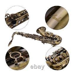 Muslady Antique Finish Bb Tenor Saxophone Sax Brass WithCase Gloves Brush Care Kit