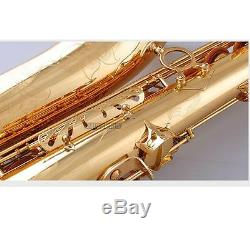 New Professional Clear Lacquer Tenor Saxophone Bb Saxofon Black Button With Case
