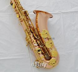 Pro. Rose Brass new Bb Tenor saxophone High F# Sax Free Metal Mouth Leather Case