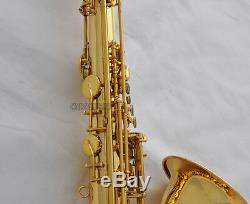 Professioanl Gold New Tenor Saxophone High F# Sax ABALONE Key with Case 10xReed