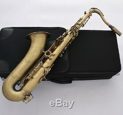 Professional Antique bronze Tenor Saxophone Pearl Key Bb High F# Sax Metal Mouth