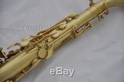 Professional Bb Matt Gold Lacquer tenor sax high F# saxophone with case