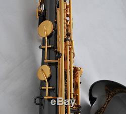 Professional Black Nickel Gold TaiShan Tenor Saxophone Bb Sax High F# With Case