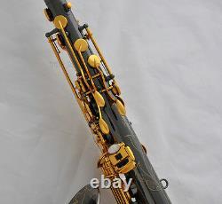 Professional Black Nickel gold Tenor Sax Engraving Bell Saxophone +Metal Mouth