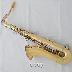 Professional Gold Silver Bb Tenor Saxophone High F# Double color Sax Metal Mouth