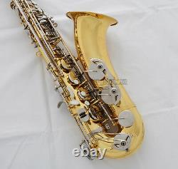 Professional Gold Tenor Saxophone Bb Double color sax High F# +Metal mouthpiece