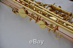 Professional Rose brass Tenor Saxophone Sax Bb key High F# with case JAZZ mouth