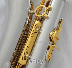 Professional Silver Gold Tenor Saxophone High F# SAX +Metal Mouthpiece With Case