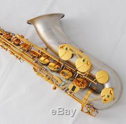 Professional TaiShan Satin Nickel Bb Tenor Saxophone High F# New Sax With Case