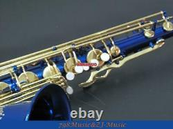 Professional new Blue and Gold Lacquer Keys tenor Saxophone with Sax Case