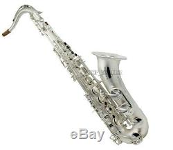 Satin Silver Plated Bb Tenor Saxophone Professional Reference 54 Sax With Case