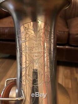 Silver 1923 Buescher True Tone Tenor Saxophone Original Snaps Case Fresh Pads