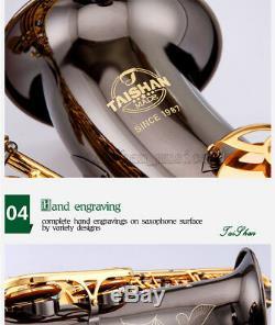 TaiShan Black nickel Tenor Bb Sax Saxophone italian Pads With Case Abalone Key