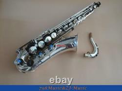 Tenor Sax saxophone Natural abalone shell With Case Silver and Black Nickel