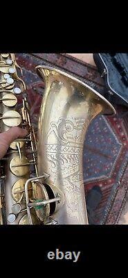 Tenor Saxophone Conn Gold Plated Transitional Art Deco Sun Goddess