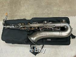 Theo Wanne Mantra Professional Tenor Saxophone, Matte Silver, with rolling case