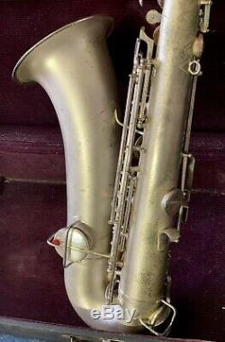 Vintage 1920s Crusader / Conn Silver Tenor Saxophone With Case+Extras