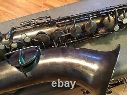 Vintage King Saxophone H N White Tenor 1925 with King Equa Tru Mouthpiece Case