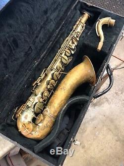 Vintage Old Pan American Tenor Saxophone -Restore/Parts with case ser# 100298 60M